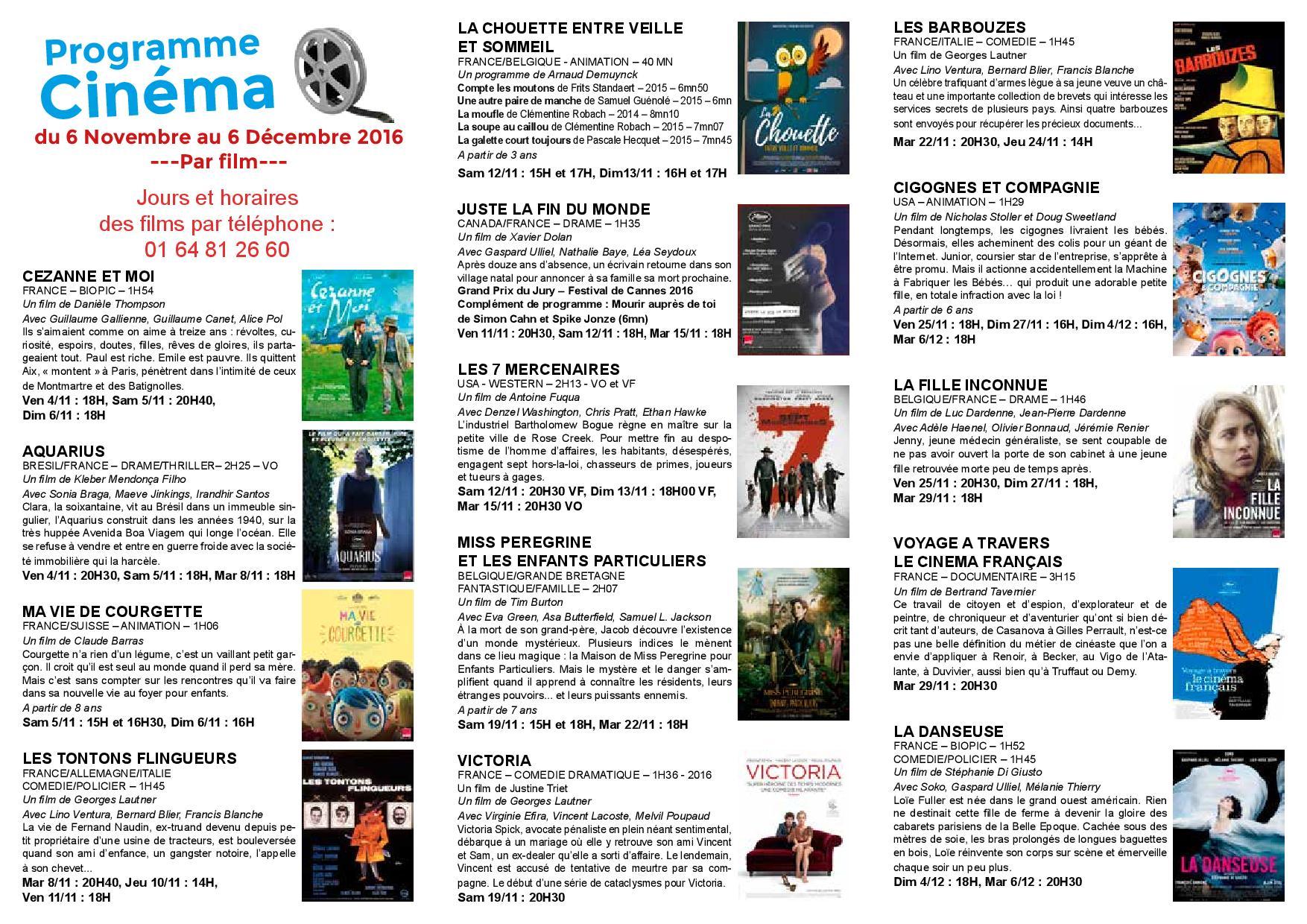Programme Cinéma Novembre-Décembre 2016